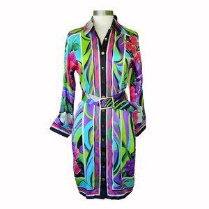 CACHE Retro Graphic Print Silk Shirt Dress